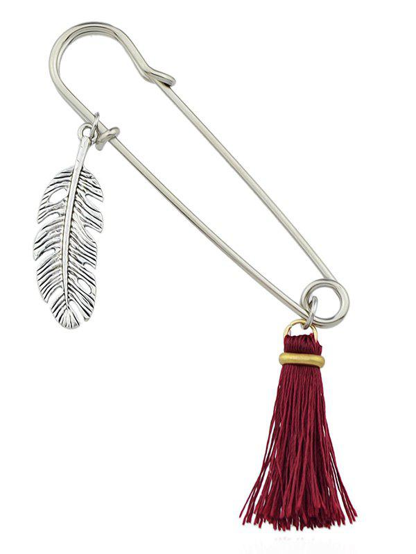 Broche Plume Tassel - Rouge Vineux