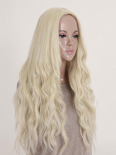 Middle Part Long Natural Wavy Cosplay Party Synthetic Wig - BLONDE