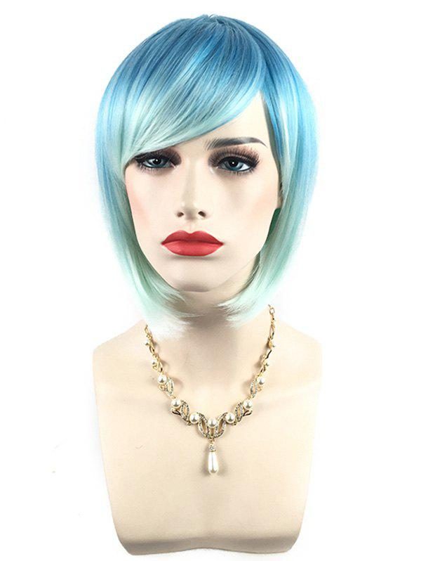 Short Side Bang Colorful Rainbow Straight Bob Party Synthetic Wig - multicolor F