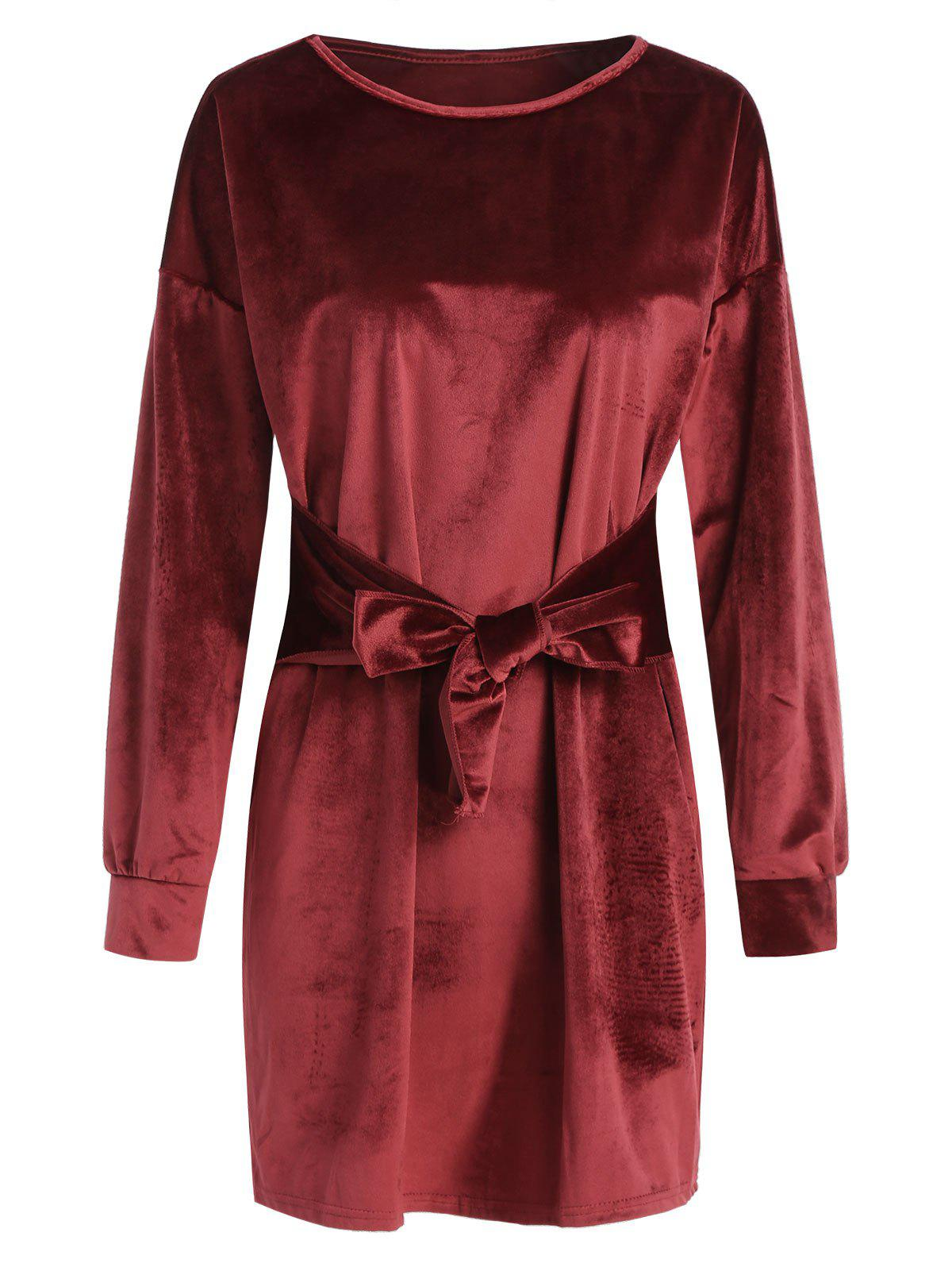 Tied Mini Velvet Dress - RED WINE L