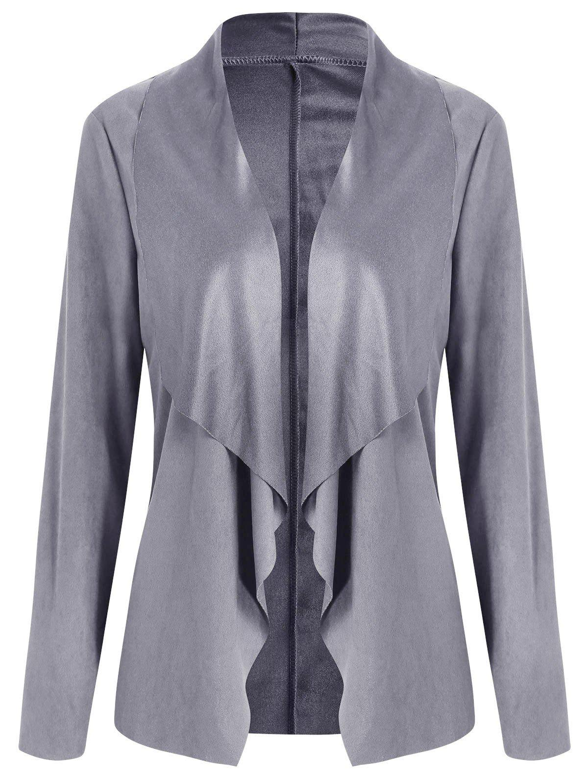 Open Front Draped Cardigan - GRAY L