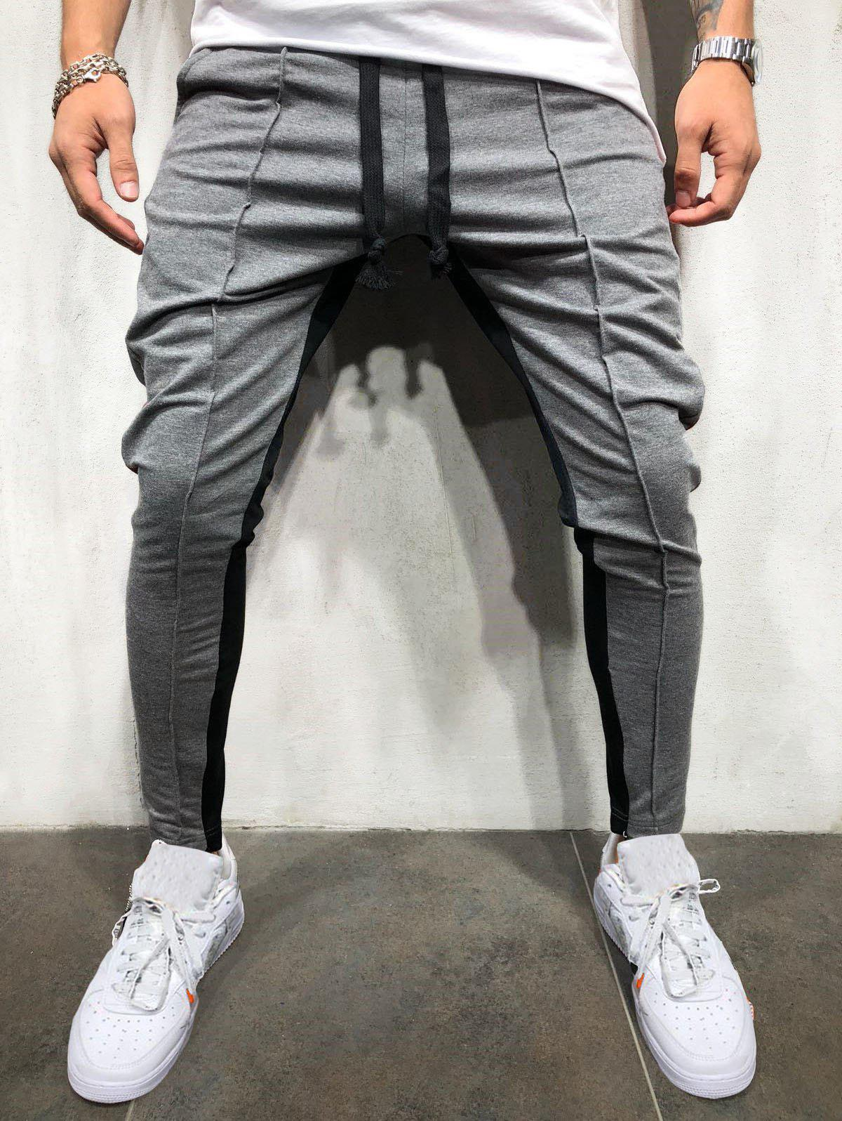 Color Block Drawstring Elastic Waist Jogger Pants - BATTLESHIP GRAY XL