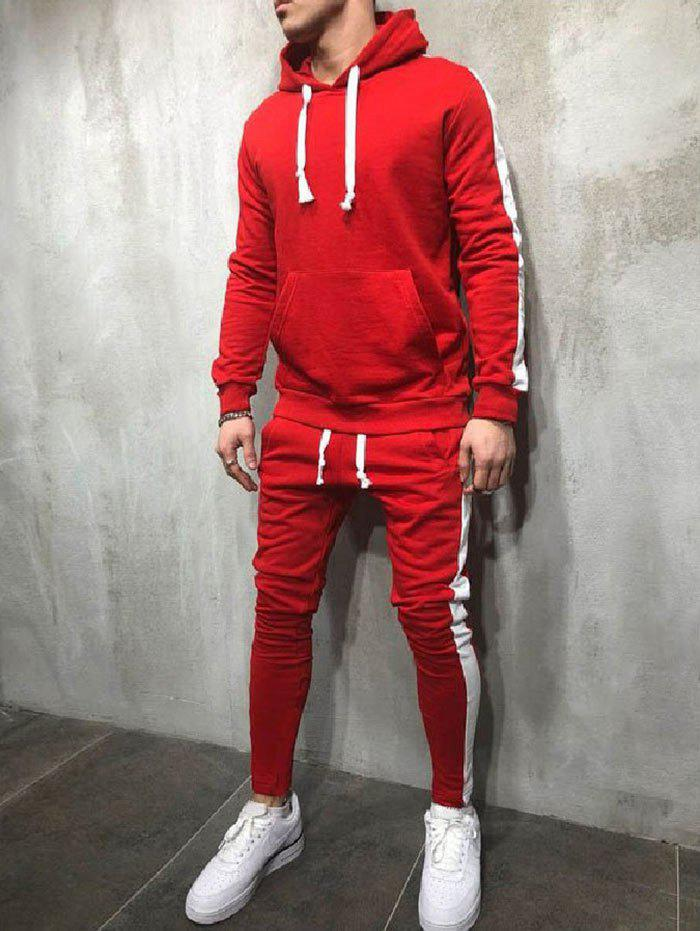 Side Stripe Drawstring Sport Suit - LAVA RED M