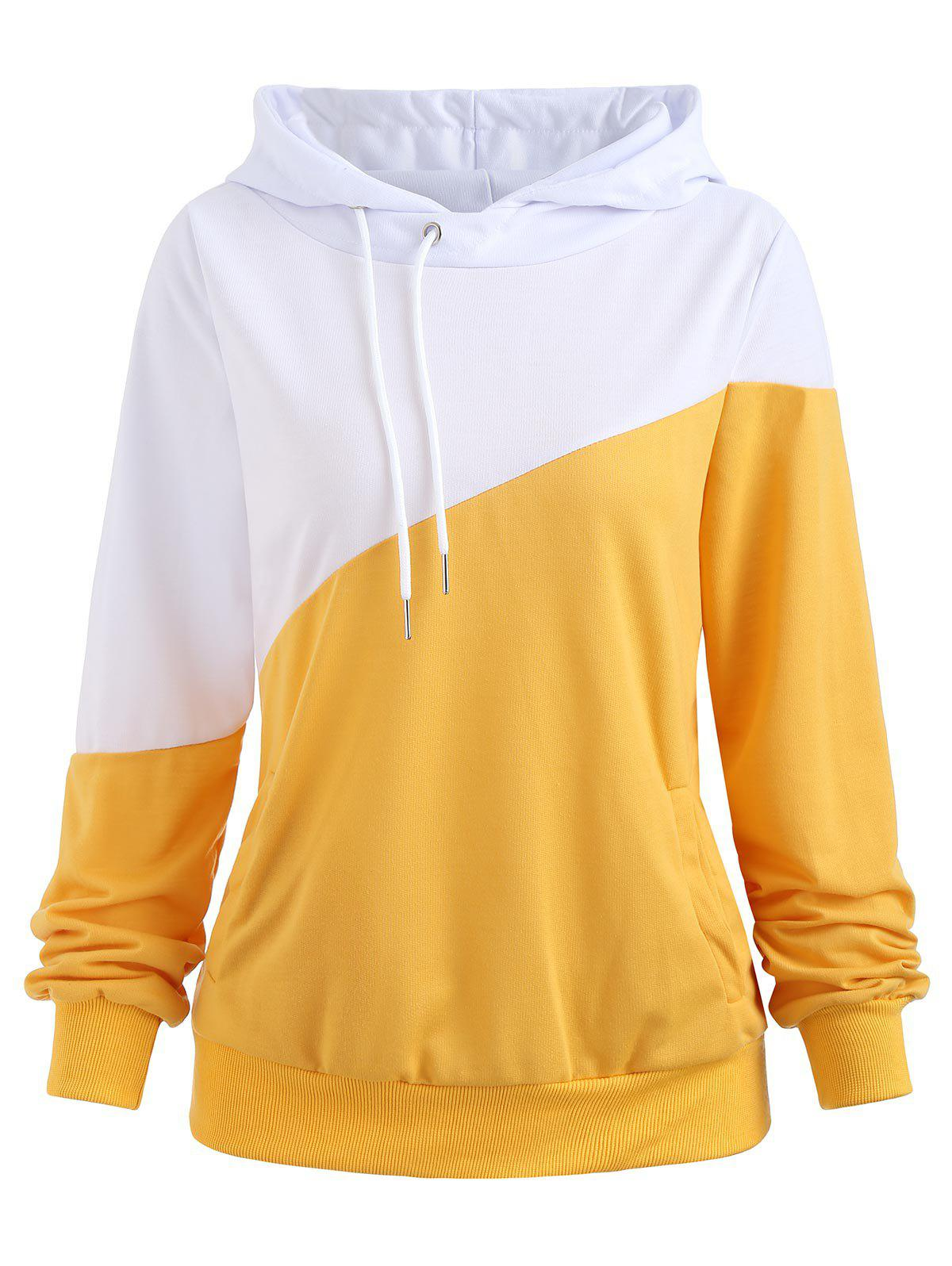 Side Pockets Hit Color Hoodie - BRIGHT YELLOW XL