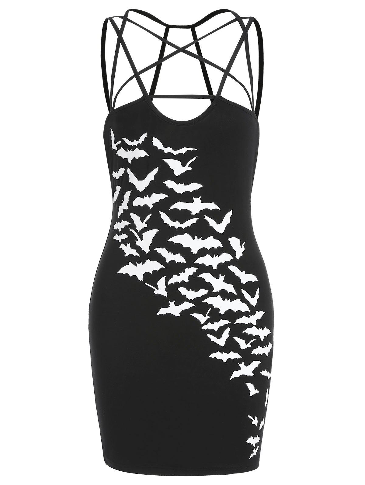 Halloween Bats Print Strappy Fitted Dress - BLACK L