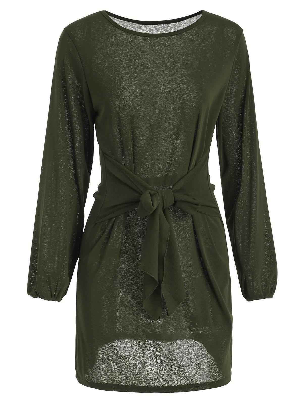 Long Sleeve Tie Waist Dress - DARK FOREST GREEN L