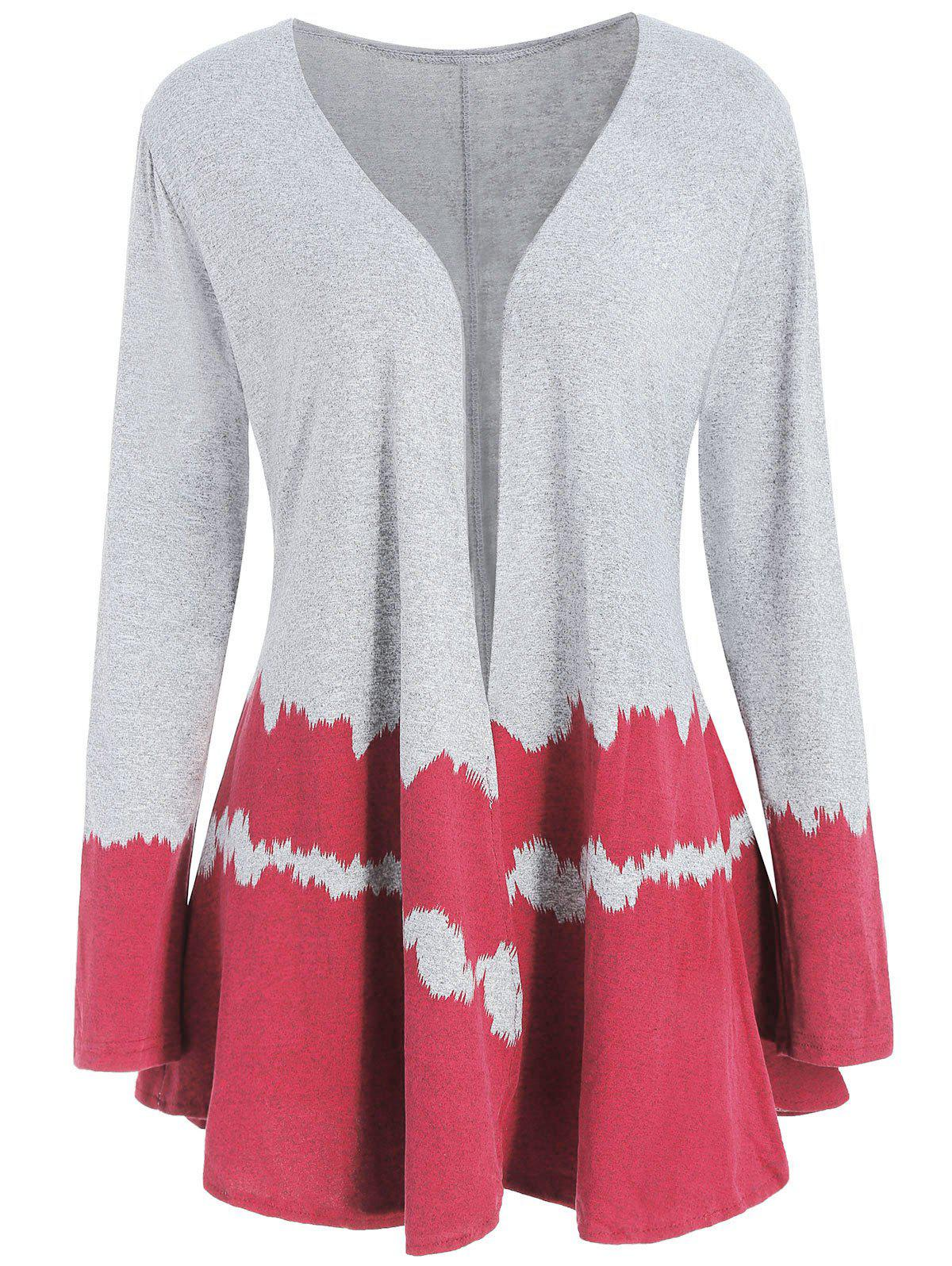 Hit Color Long Sleeve Collarless Cardigan - RED XL