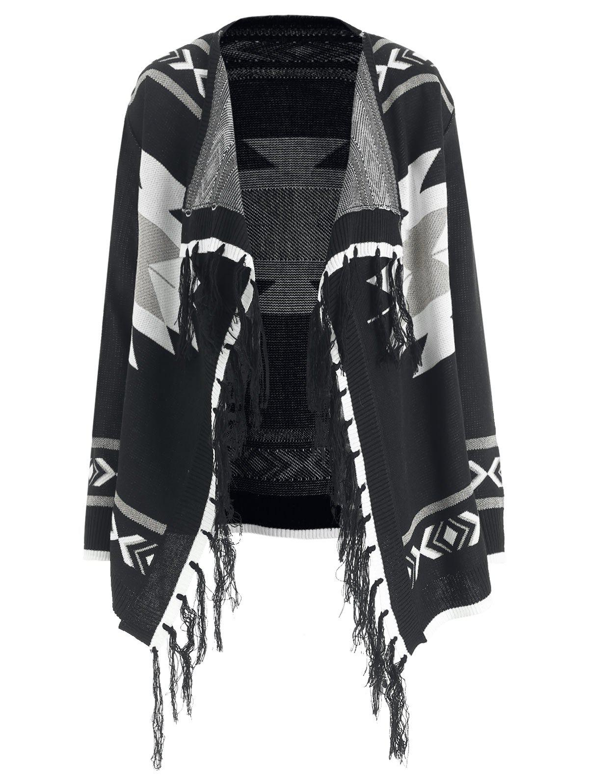 Aztec Pattern Tassel Shiny Knit Cardigan - BLACK M