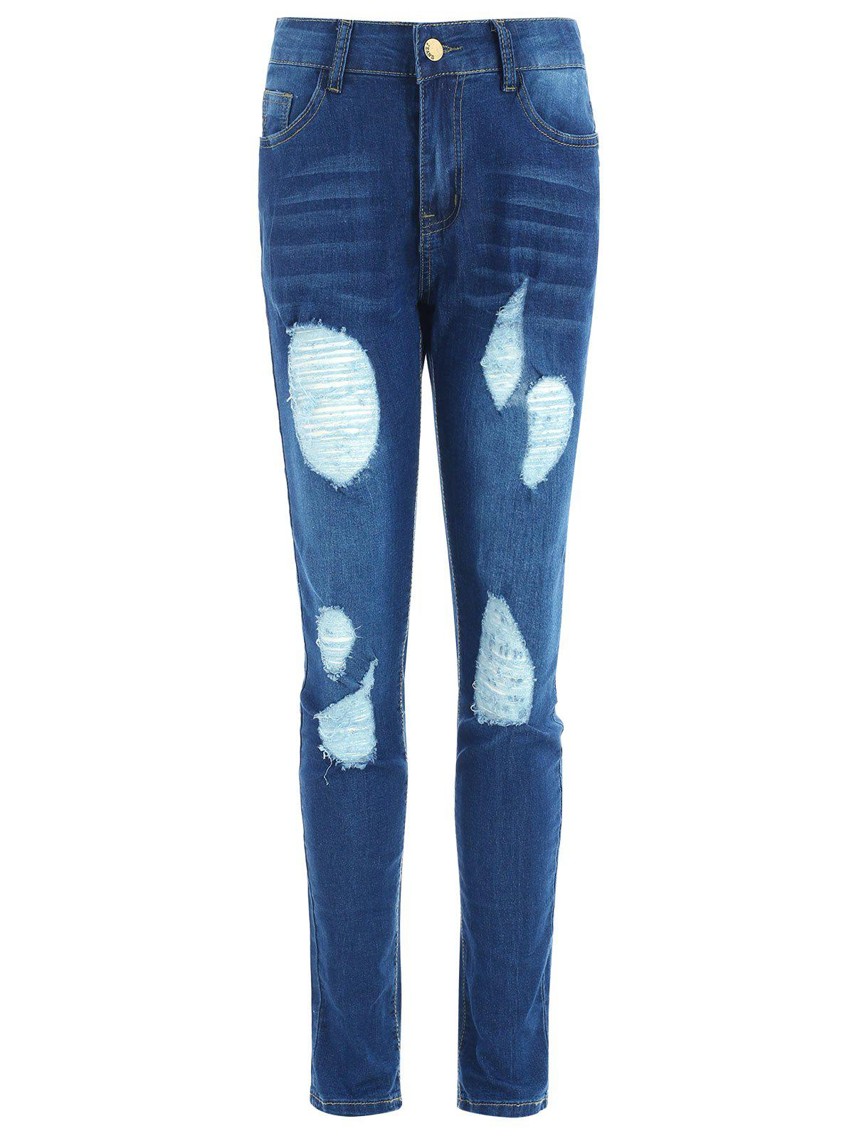 Slim Fit Ripped Jeans with Pockets - JEANS BLUE 2XL