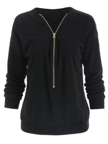 Stylish V-Neck Long Sleeve Loose-Fitting Zippered Women's Sweatshirt