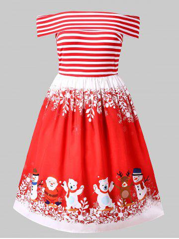 Christmas Plus Size Off Shoulder Pin Up Dress