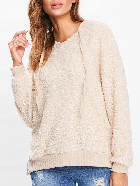 Drop Shoulder Fuzzy Hoodie - BLANCHED ALMOND S