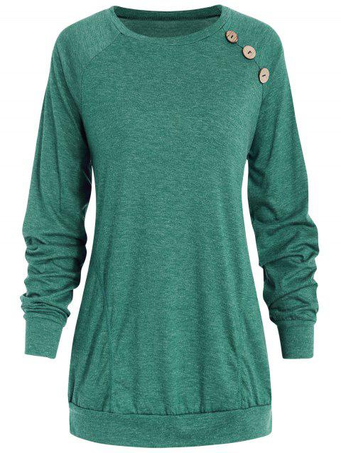 Long Sleeve Button Detail T-shirt - GREEN M