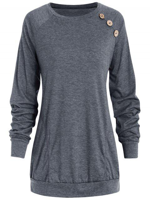 Long Sleeve Button Detail T-shirt - GRAY S
