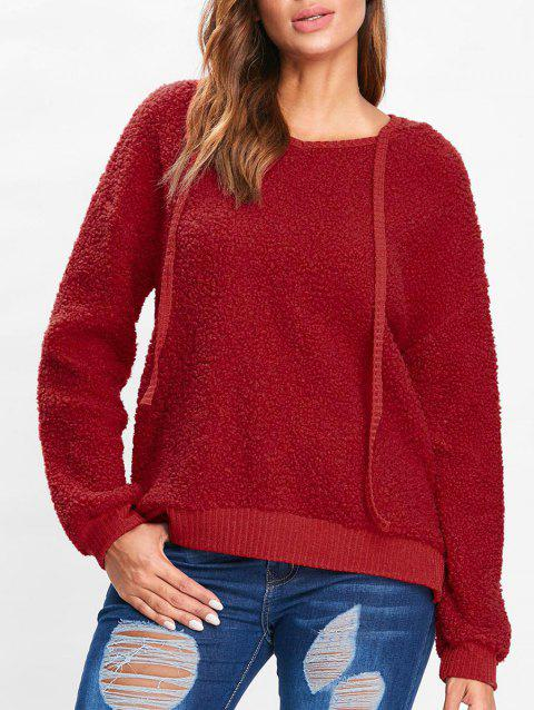 Drop Shoulder Fuzzy Hoodie - RED L