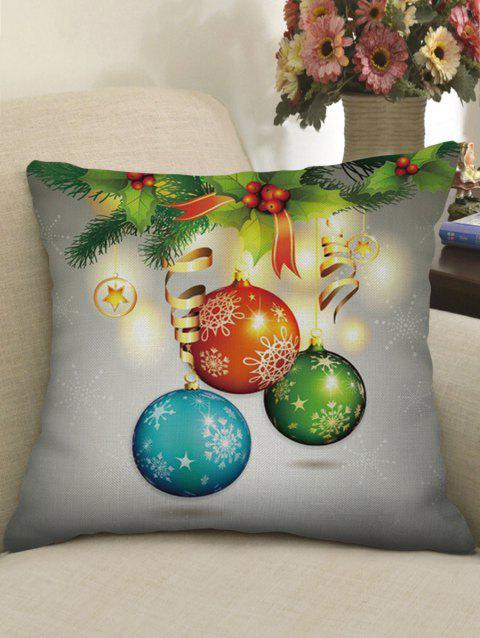 Christmas Hanging Ball Print Sofa Linen Pillowcase - GREEN ONION W18 X L18 INCH