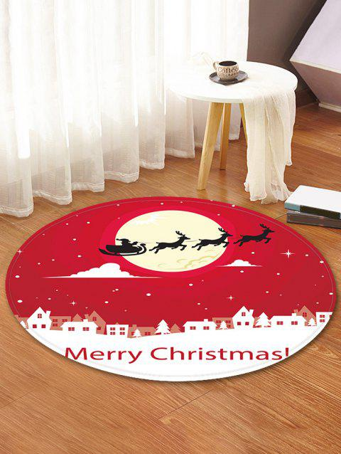Christmas Moon Night Pattern Round Flannel Rug - RED 60CM (ROUND)