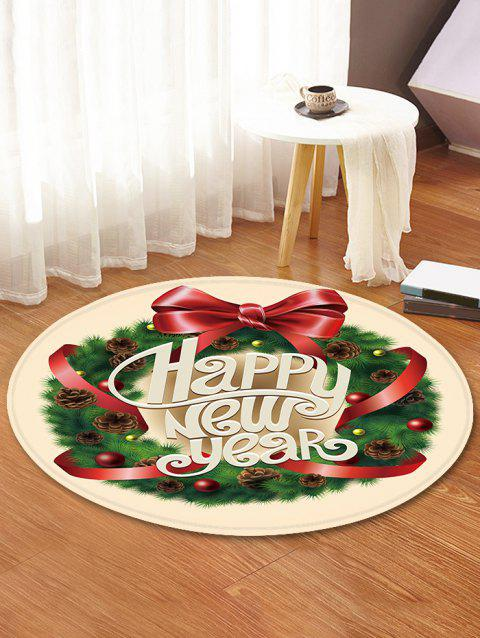 New Year Wreath Pattern Round Flannel Rug - multicolor 80CM (ROUND)