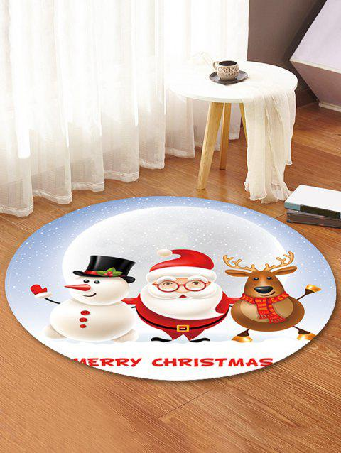 Christmas Partner Pattern Round Flannel Rug - WHITE 120CM (ROUND)