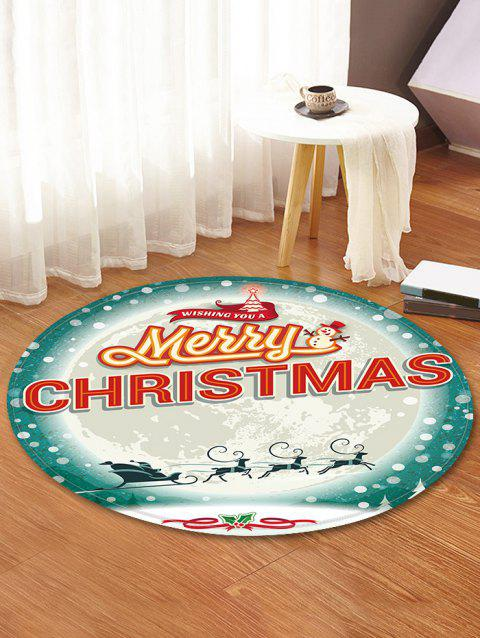 Merry Christmas Moon Pattern Round Flannel Rug - CRYSTAL CREAM 80CM (ROUND)