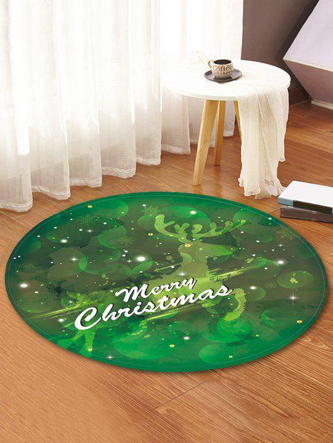 Merry Christmas Deer Pattern Round Flannel Rug - GREEN 60CM (ROUND)