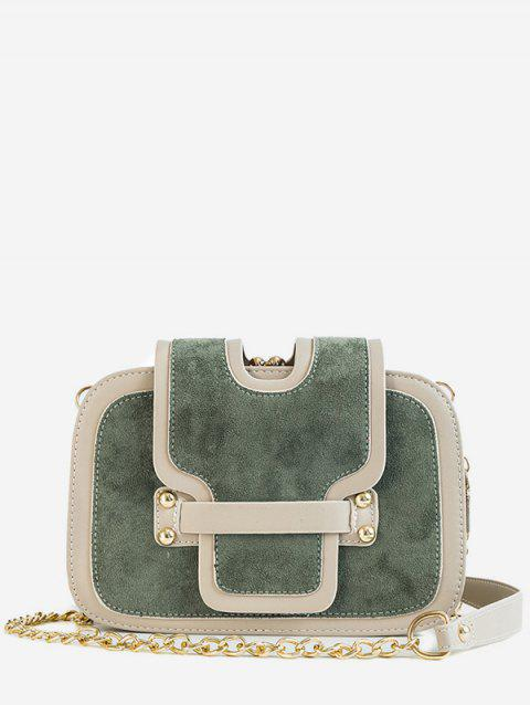 Panel Going Out Chain Crossbody Bag - GRAYISH TURQUOISE