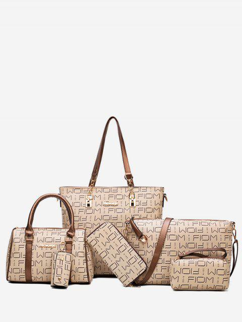 6 Pieces PU Leather Letter Print Handbag Set - BROWN