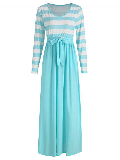 Long Sleeve Maxi Tee Dress - LIGHT BLUE M