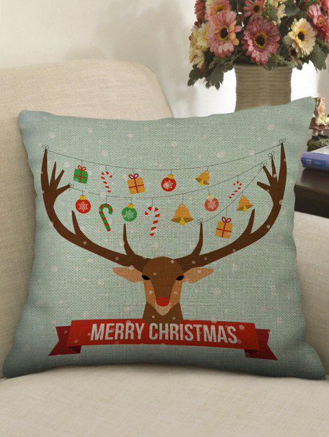 Christmas Elk Print Sofa Linen Pillowcase - multicolor W18 X L18 INCH