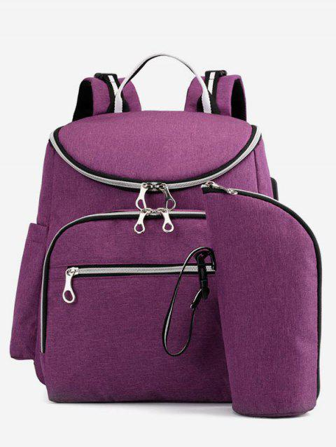 Multi Function USB Interface 2 Pieces Nappy Bag - PURPLE FLOWER