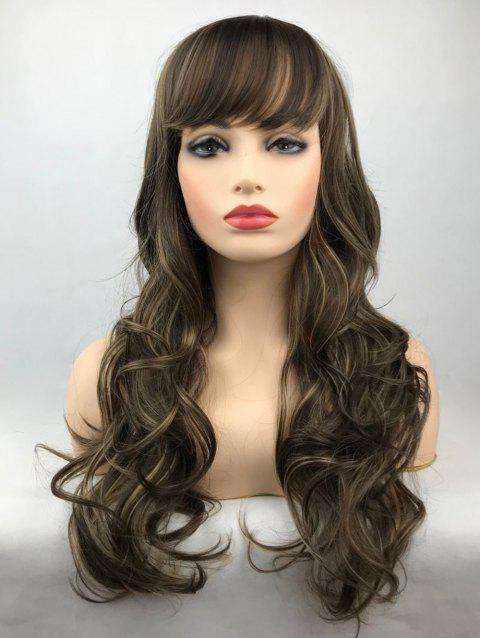 Long Inclined Bang Highlighted Wavy Synthetic Wig - multicolor