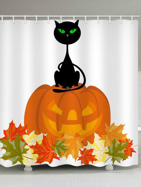 Halloween Pumpkin Cat Print Waterproof Shower Curtain - WHITE W71 X L79 INCH