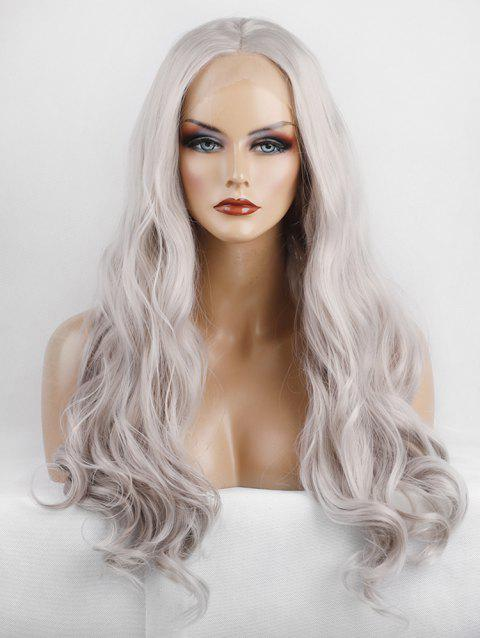 Long Middle Part Wavy Lace Front Synthetic Party Wig - PLATINUM 22INCH