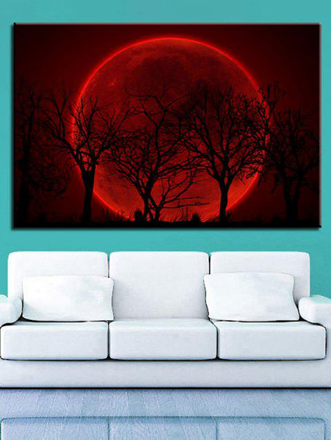 Red Moon and Trees Print Unframed Wall Hanging Paintings - multicolor 1PC X 12 X 18 INCH( NO FRAME )