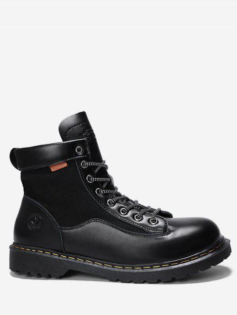 Lace Up Sewing Short Boots - BLACK EU 42