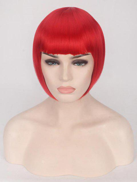 Perruque Synthétique Courte Lisse avec Frange Style Cosplay - Rouge