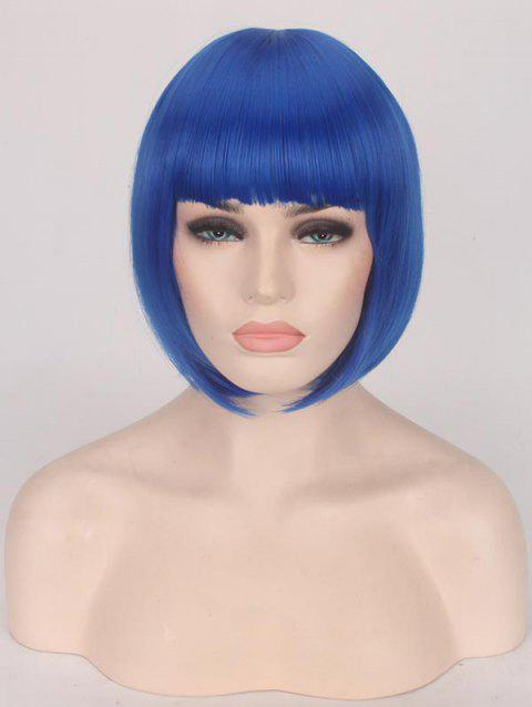 Short Full Bang Straight Bob Cospaly Synthetic Wig - COBALT BLUE