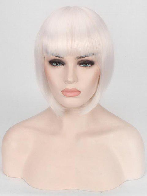 Short Full Bang Straight Bob Cospaly Synthetic Wig - WHITE