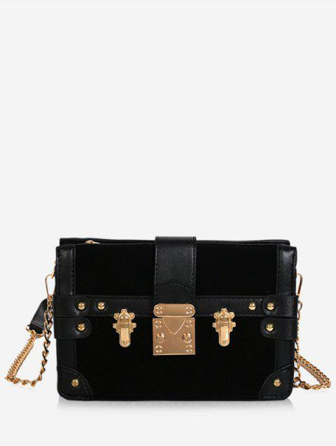 PU Leather Rivet Crossbody Bag - BLACK