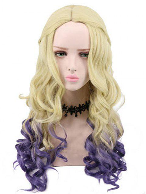 Long Side Parting Colormix Wavy Lolita Party Synthetic Wig - multicolor
