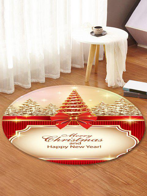 Christmas Tree Printed Decorative Round Floor Rug - BLANCHED ALMOND 60CM (ROUND)