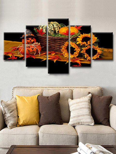 Halloween Pumpkin Flowers Print Unframed Canvas Paintings - BLACK 1PC X 12 X 31,2PCS X 12 X 16,2PCS X 12 X 24 INCH(