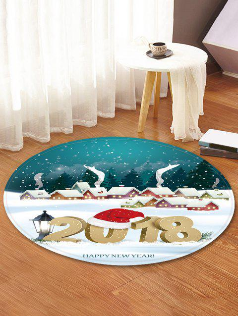 Christmas Happy New Year Printed Decorative Round Floor Rug - WHITE 120CM (ROUND)