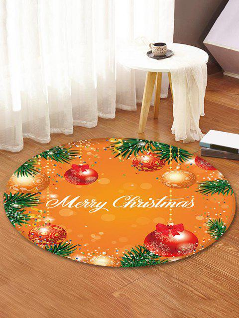 Merry Christmas Ball Printed Round Floor Rug - DARK ORANGE 120CM (ROUND)
