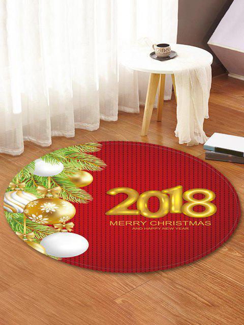 Merry Christmas Decorative Round Floor Rug - RED WINE 60CM (ROUND)