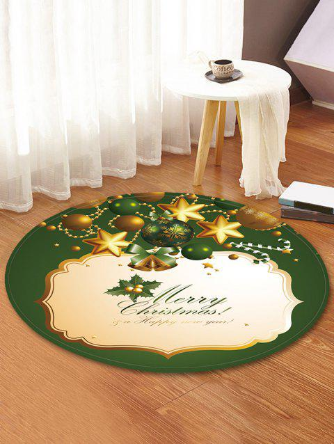 Christmas Bell Star Decorative Round Floor Rug - FERN GREEN 80CM (ROUND)