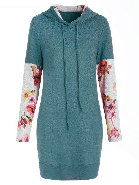 Front Pockets Floral Long Sleeve Hoodie - GREEN M