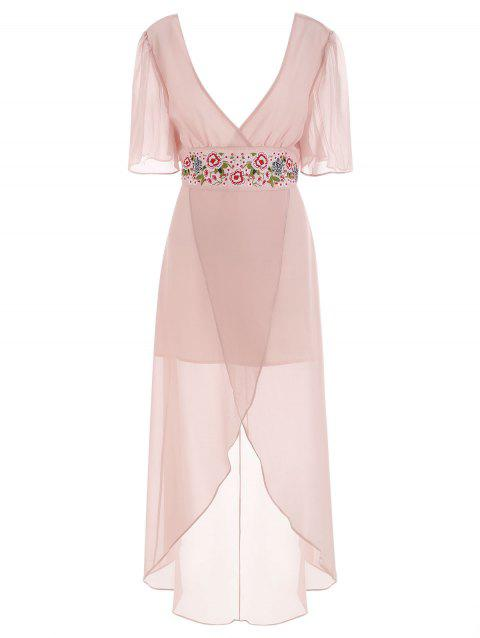 Embroidered Chiffon Maxi Dress - PINK M