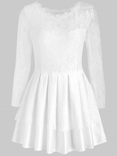 Cut Out Lace Skater Dress - WHITE M