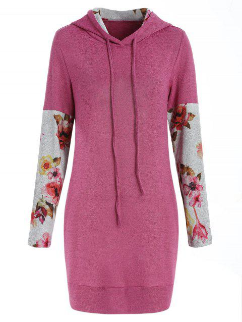 Front Pockets Floral Long Sleeve Hoodie - PINK L